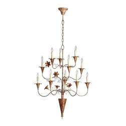 Cyan Design - Cyan Design Bloomy Eleven Light Chandelier in Rubbed Bronze - Bloomy Eleven Light Chandelier in Rubbed Bronze with Candle Shaped Bulbs