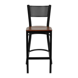 "Flash Furniture - HERCULES Series Black Grid Back Metal Restaurant Bar Stool - Cherry Wood Seat - This heavy duty commercial metal bar stool is ideal for Restaurants, Hotels, Bars, Pool Halls, Lounges, and in the Home. The lightweight design of the stool makes it easy to move around. The tubular foot rest not only supports your feet, but acts as an additional reinforcement that helps secure the legs. You will not regret the purchase of this bar stool that is sure to complement any environment to fill the void in your decor.; Heavy Duty Restaurant Bar Stool; Grid Back Design; Cherry Finished Wood Seat; .75"" Thick Plywood Seat; 18 Gauge Steel Frame; Welded Joint Assembly; Two Curved Support Bars; Foot Rest Rung; Black Powder Coated Frame Finish; Plastic Floor Glides; Designed for Commercial Use; Suitable for Home Use; Assembly Required: Yes; Country of Origin: China; Warranty: 2 Years; Weight: 14 lbs.; Dimensions: 42.25""H x 19""W x 19.5""D"