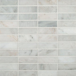 """Marbleville - MSI Arabescato Carrara 1"""" x 3"""" Honed Marble Mosaic  in 12"""" x 12"""" Sheet - Premium Grade Arabescato Carrara 1"""" x 3"""" Honed Mesh-Mounted Marble Mosaic is a splendid Tile to add to your decor. Its aesthetically pleasing look can add great value to the any ambience. This Mosaic Tile is constructed from durable, selected natural stone Marble material. The tile is manufactured to a high standard, each tile is hand selected to ensure quality. It is perfect for any interior/exterior projects such as kitchen backsplash, bathroom flooring, shower surround, countertop, dining room, entryway, corridor, balcony, spa, pool, fountain, etc."""