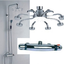 JollyHome - JollyHome Special Design Wall Mount Thermostatic Cheap Faucets - Complete parts and all install fittings are included.Water pressure tested for industry standard.Easy to keep clean and maintain.Ceramic valve core