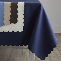 "Horchow - 68"" x 144"" Oblong Cloth - A diamond pique texture adds a tactile dimension to Matouk's ""Savannah"" table linens, now in five new colors. Sewn in the USA of easy-care cotton/polyester and finished with a tonal scalloped edge. Machine wash. Choose color below."