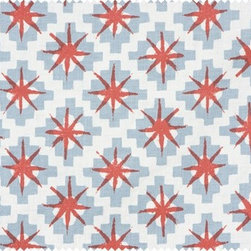 Starburst by Peter Dunham Textiles - This may be Peter Dunham's most popular fabric, and I can certainly see why. It's a bit exotic, geometric, and the shade of blue is perfect with the subdued shade of red. Stunning!