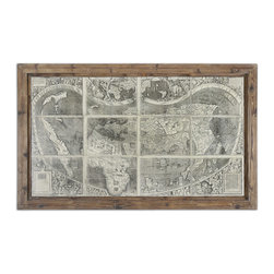 Uttermost - Treasure Map Framed Art - This oil reproduction features a hand applied brushstroke finish. The frames feature a unique, reclaimed wood look with medium brown undertones, dark brown wash and light taupe glaze.