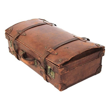 """Consigned Antique Leather Suitcase - Beautifully time-worn, large leather suitcase from the early 20th century. The inside is lined in blue fabric with a loose pocketed separator. Nostalgic hand-sewn repairs are found on the interior straps. Exterior buckles, straps and closures are functional. Outer label reads """"Railway Express Agency, H J Erickson, Camp Perry Ohio, 8-15-37."""""""