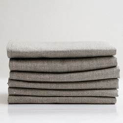 Linen Napkin Set, Gray by Pillow Link - I don't normally buy paper napkins, but I find myself needing them. Whenever I do get a stack, I'm shocked at how quickly they make it into the trash. I need easily washable linen napkins for the dinner table. I prefer a darker rustic style so that I won't have to worry about getting them dirty.