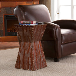Upton Home - Yuko Faux Brown Leather Accent Table - The hallmark of this beautiful faux leather accent table is the alligator embossment and the novel inverted design that really enhance the decor of any room. Also, the spacious platform at the top means it can serve a wide variety functions.