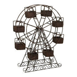 iMax - iMax Rattan and Metal Ferris Wheel with Planter Baskets X-80176 - This rattan Ferris wheel takes a spunky spin on planters, each seat is a little cubby for plants or any type of surprise