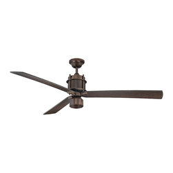 "Savoy House - Muir 56"" 3 Blade Ceiling Fan - The Savoy House Muir ceiling fan is the picture of industrial chic sophistication! This cutting edge collection boasts a Byzantine Bronze finish , Chestnut blades, and an integrated halogen light kit with optional light cap."