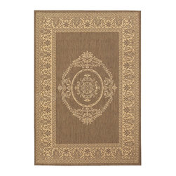 """Couristan - Recife Antq Medallion Rug 1078/0712 - 7'6"""" x 10'9"""" - These weather-defying area rugs are suitable for indoor and outdoor use. You'll love the way they color-coordinate with today's most popular outdoor furniture pieces. The collection's naturally inspired color palette will provide a warmer and more inviting appearance for patio decks and stone entryways."""
