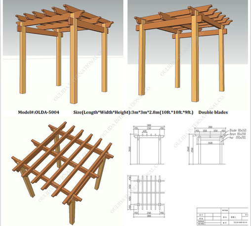 Patio Pergola OLDA-5004 10ft.*10ft.*9ft.(double blades) - Specification