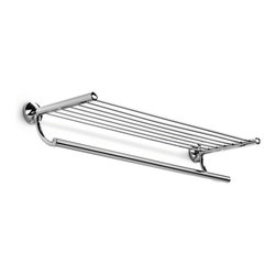 """WS Bath Collections - Noanta 53280.29-G Self-Adhesive Towel Rack with Hanging Towel Rail - Noanta by WS Bath Collections Bathroom Shelf with Towel Rack 25.8"""" in Polished Chrome"""