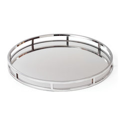 Go Home - Stainless Steel Marion Tray - This versatile Stainless Steel Marion Tray is perfect for serving and entertaining, or to display your favorite accents.It have stainless steel frame and mirrored surface , large enough for a bottle of your favorite drink and a few glasses or to serve light snacks.
