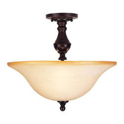 Savoy House - Savoy House Sutton Place Semi-Flush Mount Ceiling Fixture in English Bronze - Shown in picture: Designed by Karyl Pierce Paxton; This collection has the look of traditional fixtures with a little modern flair. The Cream Faux Marble glass will add a soft glow to your room.