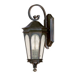 """Capital Lighting - Inman Park Hook Wall Lantern - Small - Inman Park Outdoor Wall Hook Lantern.  Available in 3 sizes.  Old Bronze finish with Seeded Glass.  Takes two or three 60W Candelabra bulbs.  UL Listed.  Rated for Damp Environments.  Small Fixture: 9"""" w x 9 1/2"""" d x 17"""" h  Backplate: 5 1/4"""" w x 11"""" h  Medium Fixture: 11"""" w x 12"""" d x 27"""" h  Backplate: 6 1/2"""" w x 13 1/4"""" h  Large Fixture: 13"""" w x 14"""" d x 32 1/2"""" h  Backplate: 7 1/2"""" w x 15 1/2"""" h"""