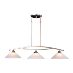 ELK Lighting - ELK Lighting 6502/3 Elysburg 3-Light Island Lights in Satin Nickel - This 3 light Island Light from the Elysburg collection by ELK will enhance your home with a perfect mix of form and function. The features include a Satin Nickel finish applied by experts. This item qualifies for free shipping!
