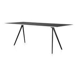 Magis - Baguette Table Outdoor - You don't have to sacrifice style when you're dining al fresco. Party inside or out with this sleek table. The top is made of dark, ecofriendly Ardesia slate, which sits atop two pairs of modern aluminum chopstick legs clad in black.