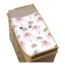 Sweet Jojo Designs - Pink Elephant Changing Pad Cover by Sweet Jojo Designs - The Pink Elephant Changing Pad Cover by Sweet Jojo Designs, along with the  bedding accessories.