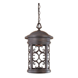 Designers Fountain - Designers Fountain Ellington - Dark Sky Transitional Outdoor Hanging Light X-PM- - Reminiscent of Victorian gas lamp days, this exquisite traditional foyer lighting will bring saturated elegance to your traditional home. Finished in Forged Bronze, brown and black tones are blended together to add a touch of antique. The finial combines etched banding and stylized leaves.