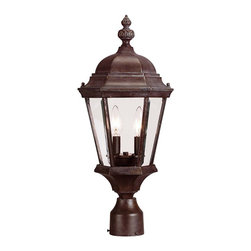 Savoy House - Savoy House Wakefield Outdoor Post/Pier in Walnut - Shown in picture: Traditional Exterior - Versatile in Walnut Patina Finish with Clear Beveled Glass