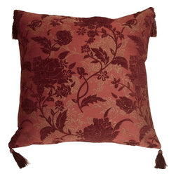 Pillow Decor Ltd. - Pillow Decor - Traditional Floral in Wine 24 x 24 Decorative Pillow - This large classic decorative pillow is traditional and sophisticated in every way. The stylized floral pattern is elegant and full of texture.