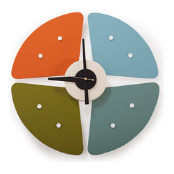 "Kardiel - Kardiel George Nelson Style Petals Clock, Multicolor - George Nelson is the recognized pioneer of modern wall timepiece designs. Nelson created over 150 iconic clocks. Nelson used pure color and bold yet whimsically modern shapes in his wall clocks. The Iconic Petals design displays these classic modern design traits beautifully. If your goal is to create a ""Modern"" space, this clock is an affordable focal point to build upon. Compare the details anywhere. Kardiel offers the highest quality architecturally accurate reproduction of Nelson's Ball clock updated with modern quartz timekeeping."