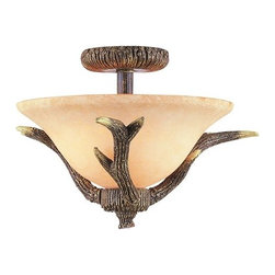 Trans Globe Lighting - Trans Globe Lighting 7087 Two Light Down Lighting Semi Flush Ceiling Fixture fro - Two light down lighting semi flush ceiling fixture featuring crushed stone glassRequires 2 100w Medium Base Bulb (Not Included)