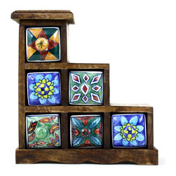 """Ceramic Drawer Chest (6 Drawers), Design 2 - Rustic hand painted ceramic drawers ideal for storing small jewelry or other trinkets. The drawers are hand painted in different designs and the wooden chest has a rustic distressed finish. Approximate dimensions: L 9.5"""" x H 10.25"""" x W 4"""""""