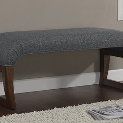 None - Granite Grey Curved Waterfall Window Bench - An open-legged design gives this curved window bench an airy mid-century modern feel. Decorated with plush granite grey fabric,this dapper waterfall bench is accented with sturdy medium walnut wooden legs.