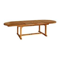"Chelsea Teak 80"" - 115"" Oval Extension Table - The chelsea extension tables is perfect for people who have smaller living spaces but love to entertain. The extension allows you to add two extra place settings when the table changes from a 4' round table to a 6' oval table."