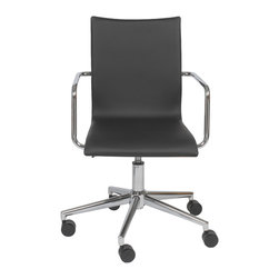 Eurostyle - Madge Office Chair-Black/Walnut/Chrome - This fabulous office chair features a smooth backrest and seating area in black, but when you turn it around, you'll be surprised by the rich brown hue. Surprising, but never distracting, its clean design helps inspire focus while you work.