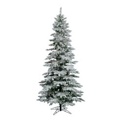 """Vickerman - Flocked Slim Utica 400LED Multi (7.5' x 43"""") - 7.5' x 43 Flocked Utica Fir Tree with 1019 PVC tips 400 6 Color Multicolored LED Lights metal stand Utilizes energy-effiecent, durable LED technology."""