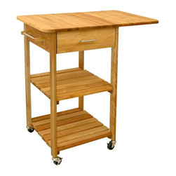Catskill Craftsmen - 2 Shelf Single Drop Leaf Block Cart w Drawer - This versatile hardwood cart will be a perfect addition to a smaller kitchen, providing not only additional work space thanks to a generously sized drop leaf top, but also extra storage with two slatted lower shelves and a utensil drawer. Constructed of hardwoods in natural finish, the unit also includes a stainless steel towel bar. Made of US hardwood. Single drop leaf for extra work space. Tower bar. 2 Slatted shelves. Locking caster wheels. Overall: 21 in. L x 32.75 in. W x 35.75 in. H. Table top with drop leaves down: 21 in. L x 20 in. W. Interior drawer: 14.88 in. L x 13.38 in. W x 4.75 in. H. Shelf clearance: 17.5 in. L x 18.5 in. W x 11.25 in. HThese versatile little carts with drop leaves are perfect for use where maximum workspace is needed, yet floor space is limited. With drop leaves up, these units expand into huge work area, perfect for smaller kitchens. Constructed from Northeastern Hardwood.
