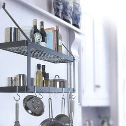 "Rogar - Double Bookshelf Wall Mount Pot Rack, Black - Features: -Space between shelves is 10''.-Includes 6 eye hooks and 2 grid hooks.-Hammered steel finish is speckled.-Gourmet Pot Racks collection.-All Rogar products are proudly crafted in Virginia, USA, and carry a one-year limited warranty..-Collection: Gourmet Pot Racks.-Distressed: No.-Gloss Finish: No.-Material: Steel.-Hardware Material: Steel.-Number of Items Included: 1.-Non Toxic: Yes.-Heat Resistant: Yes.-Tarnish Resistant: Yes.-Rust Resistant: Yes.-Fade Resistant: Yes.-Warp Resistant: Yes.-Chip Resistant: Yes.-Stain Resistant: Yes.-Product Type: Wall mounted.-Style: Modern.-Shape: Rectangular bookshelf.-Expandable: No.-Adjustable Height: Yes.-Low Ceiling: Yes.-Lid Storage: Yes.-Chains Included: No.-Hooks Included: Yes -Number of Hooks: 8.-Hook Material: Steel.-Adjustable Hook Position: Yes.-Magnetic Hooks: No..-Lighting: No.-Shelving: Yes -Number of Shelves: 2.-Shelf Material: Steel.-Adjustable Shelves: Yes.-Grid Shelves: Yes..-Commercial Use: Yes.-Recycled Content: No.-Eco-Friendly: No.-Product Care: Dust; soap/water.-Country of Manufacture: United States.Specifications: -UL Listed: No.-cUL Listed: No.-Title 24 Compliant: Yes.-FSC Certified: No.-General Conformity Certified: No.-Green Guard Certified: No.-SFI Certified: No.Dimensions: -Overall Height - Top to Bottom: 24"".-Overall Width - Side to Side: 35"".-Overall Depth - Front to Back: 8.5"".-Shelves: -Shelf Height - Top to Bottom: 10"".-Shelf Width - Side to Side: 34"".-Shelf Depth - Front to Back: 8""..-Hooks: -Hook Height: 4""..-Overall Product Weight: 21 lbs.Assembly: -Assembly Required: Yes.-Tools Needed: Allen Wrench.-Additional Parts Required: No.Warranty: -Product Warranty: 1 year."