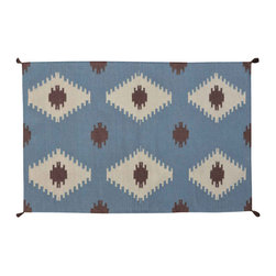 Area Rug, Hand Woven 3'X5' 100% Wool Flat Weave Navajo Design Rug SH11665 - Soumaks & Kilims are prominent Flat Woven Rugs.  Flat Woven Rugs are made by weaving wool onto a foundation of cotton warps on the loom.  The unique trait about these thin rugs is that they're reversible.  Pillows and Blankets can be made from Soumas & Kilims.