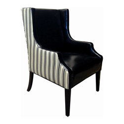 None - Stripes Cozumel Navy Fabric and Faux Leather Club Chair - This arm chair features a cool upholstery fabric back and faux leather seat. A wide seat and back offer plenty of room to sit back and relax.