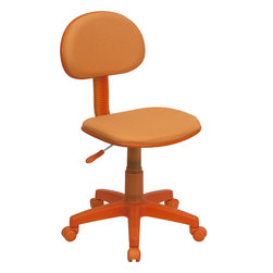Flash Furniture - Flash Furniture Orange Fabric Ergonomic Task Chair - BT-698-ORANGE-GG - The perfect chair for any room in your home. Whether for the kids or for your home office, this chair will be a perfect addition. This chair will be a welcome and personal addition for any home office or home study area. [BT-698-ORANGE-GG]