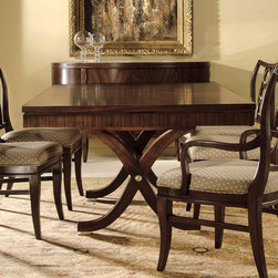"""Hekman - Metropolis Rectangular Dining Table - A sophisticated collection of finely crafted furnishings which is surely a feast for the eyes. Metropolis' appeal is due, in part, to the bold lines of ribbon striped mahogany, the richness of solid mahogany and rosewood veneers, together with clean lines and subtle curves. A fresh style with roots in the classics, and its expression in the salons of Paris in the 1920s, Metropolis may rightfully be termed the new traditional.; Mahogany solids with ribbon striped mahogany veneers; One 20"""" self storing leaf extends table to 100""""; Brushed Nickel accents; Dimensions: Overall: 80""""L x 46.25""""W x 30""""H; Floor to apron: 27""""; Self storing leaf: 20"""""""