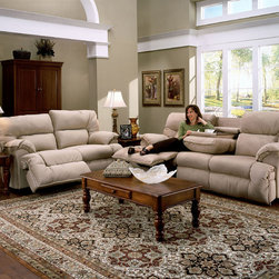 None - Franklin Tristin Beige Microfiber Dual Reclining Sofa & Love Set - The Tristin Collection is upholstered in a plush colored microfiber. This fabric is extremely durable, easy to clean and maintain, and excellent for everyday use.