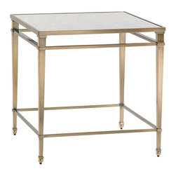 Lexington - Lexington Kensington Place Maxfield Metal Lamp Table - A square antique mirror top rests on an elegant metal base finished in an antique brass patina, with graceful tapered legs and ball feet.