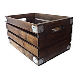 Industrial Home Bazaar - Wood Crate - Keep organized in vintage style this sturdy wooden crate. Crafted by hand from distressed solid wood, it feature slatted sides, handles for easy toting and metal accents at each corner.