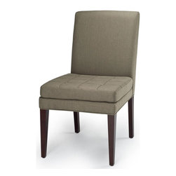 Safavieh - Safavieh Cole Side Chair, Set of 2 X-2TES-A0128DUH - The Cole's chair straight-forward appeal with button tufting on the seat cushion is designed for cushiony comfort. Shown, in olive fabric and a dark cherry finish on the legs. Set of 2