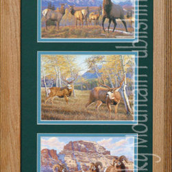 Rocky Mountain Publishing - Double Take Triple, Manuel Mansanarez Wildlife Art Framed Set - When  nature  can  be  such  a  focal  point  of  an  art  piece  it  will  take  your  breath  away.  This  combination  of  wildlife  art  and  beautiful  natural  surroundings  will  do  just  that.  Double  Take  Triple  combines  the  beauty  of  nature  in  many  different  seasons  with  the  added  focal  point  of  a  variety  of  wildlife.  Including  the  long  horn,  the  deer,  and  the  elk  set  among  the  majesty  of  mountain  vistas  this  is  a  great  piece  for  a  western  art  collector  or  anyone  who  simply  enjoys  the  beauty  of  nature.                  Dimensions:  Glass  and  Matting  measure  10x20  inches;  Exterior  Frame  dimensions  approximately  16x26  inches              Handsomely  matted  and  framed              Hardware  for  hanging  is  pre-installed              Treated  with  a  protective  coat  of  acid-free  sealant              Artist:  Manuel  Mansanarez;  Allow  2  weeks  for  shipping