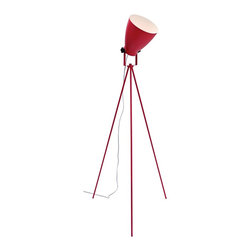 "Lamps Plus - Contemporary Ekko Reader Hot Pink Spotlight Floor Lamp - The Ekko floor lamp features an adjustable spotlight head and tripod legs for stability. The playful design is coated in a sleek hot pink finish and the fully tiltable head can be positioned either as a reading lamp or as an ambient torchiere. A perfect fit for the modern eclectic living space! Metal construction. Hot pink finish. Spotlight design. Takes one 40 watt standard base bulb (not included). 57 1/2"" high. 24"" wide. Shade is 9 1/2"" round.  Metal construction.   Hot pink finish.   Spotlight design.   Takes one 40 watt standard base bulb (not included).   On/off foot switch.  57 1/2"" high.   24"" footprint.  Shade is 9 1/2"" round."