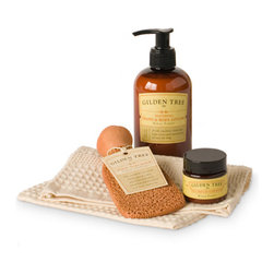Gilden Tree - Natural Home Spa Essentials - The essential foot care kit for a home spa treatment - now in a natural bag with a pretty pink ribbon! Kiran Forest scent. Gluten free. Safe for diabetics and celiacs.