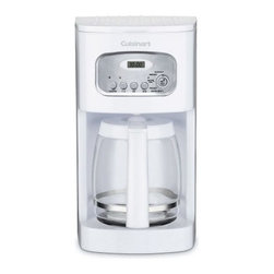 "Cuisinart DCC-1100 12-Cup Programmable Coffee Maker - White - The classically designed White 12-Cup Programmable Coffeemaker has everything you need for the perfect cup right at home. This machine features a 12-cup carafe with an ergonomic handle dripless spout and knuckle guard for safe and comfortable pouring. Fully automatic the coffeemaker has 24-hour programmability a Brew Pause feature that lets you steal a cup while the brew's still in progress and 1-4-cup settings for those times you don't need an entire pot. A 60-second reset ""remembers"" where it was in the brewing process as well as its settings in case the power is ever turned off.The 12-Cup Programmable Coffeemaker has a sleek white finish and a classic design and comes complete with accessories including a charcoal water filter for better-tasting coffee. Limited three-year manufacturer's warranty also included.About CuisinartOne of the most recognized names in cookware and kitchen products Cuisinart first became popular when introduced to the public by culinary experts Julia Child and James Beard. In 1973 the Cuisinart food processor revolutionized the way we create fine food and healthy dishes and since that time Cuisinart has continued its path of innovation. Under management by the Conair Corporation since 1989 Cuisinart is a universally celebrated name in kitchens across the globe. With a full-service product line including bakeware blenders coffeemakers cookware countertop appliances kitchen tools and much much more Cuisinart products are preferred by chefs and loved by consumers for durability ease of use superior quality and style."