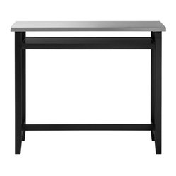 Belmont Black Work Table with Stainless Steel Top