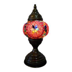 Mini Star - Tribal Mosaic Decorative Lamp - Authentic Desk Lamp , Moroccan Style Lamp , Night Lamp, Exotic Lamp