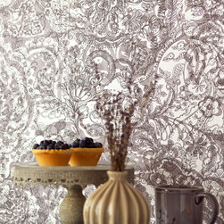 Raval - This grey paisley wallcovering enchants décor in a whimsy of florals and bohemian patterns that swirl with global sophistication.