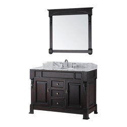 Virtu USA - 48in. Huntshire Vanity in Dark Walnut with Italian Carrara White Marble - The Huntshire collection makes a bold statement with defining straight lines and strong features. It offers a spacious storage space with soft closing slides and a gorgeous marble top. Huntshire is the perfect vanity for anyone who finds beauty in traditional class.