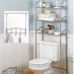 CreativeWare Home - 3 Pc Satin Nickel Finish Bath Set - 3 Shelf Spacesaver. Magazine rack. Over-the-Door 5-Hook Rack. Beautiful Satin Nickel Finish. Decorate your entire bathroom. Mag Rack can be used in any room in your home. Space Saver: 23 75 in. x 9.75 in. x 66 in.. Over the Door Rack: 15.75  in. x 4 in. x 16.25 in.. Magazine Rack:7.25 in. x 10 in. x 13.25 in.